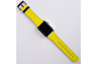 For Apple Watch Band (42mm) Series 1  2  3 & 4 Vegan Leather Strap iWatch Yellow
