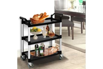 Emajin Service Cart Food Trolley Restaurant Kitchen Catering Service Shelf 3 Tier Shelves Loackable Wheels Black