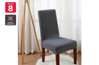 Ovela Pack of 8 Set Dining Chair Cover (Charcoal)