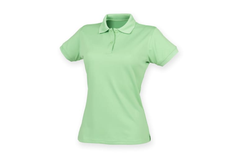Henbury Womens/Ladies Coolplus® Fitted Polo Shirt (Lime Green) (2XL)