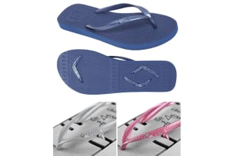 Women's Navy Slim Thongs with 2x Pairs of Interchangeable Grey and Pink Diamante Straps Size 4/5