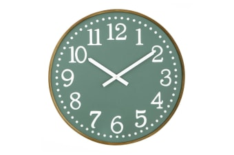 Amalfi Thomas 60cm Analogue Beech Wood Wall Clock Home Decor Mountable Green