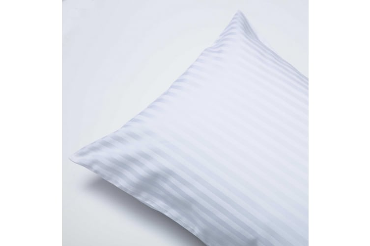 Belledorm 540 Thread Count Satin Stripe Housewife Pillowcases (Pair) (White) (One Size)