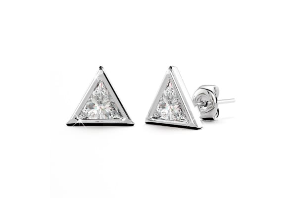 .925 2pc Sterling Silver Simulated Diamond Earrings Set-Silver