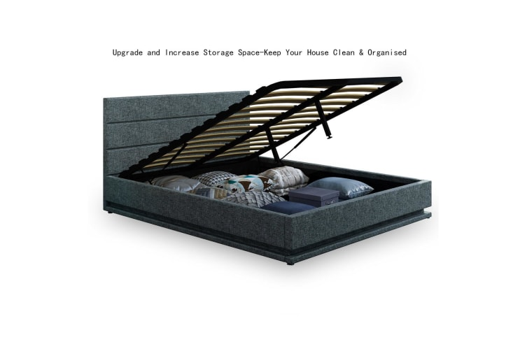 Modern Grey Leather Storage Bed Frame with LED   Queen