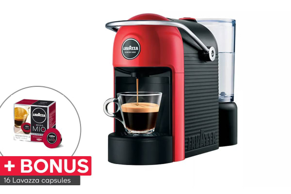 Lavazza Jolie Espresso Coffee Capsule Machine & 16 BONUS Capsules - Red