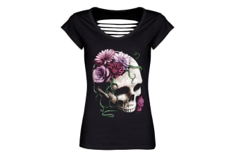Requiem Collective Ladies/Womens Cranial Bloom Razor Back T-Shirt (Black)