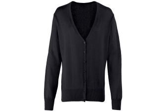 Premier Womens/Ladies Button Through Long Sleeve V-neck Knitted Cardigan (Black) (20)