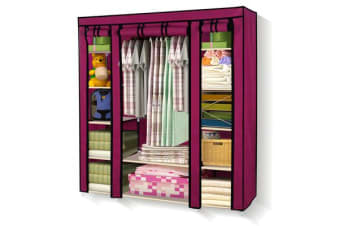 Large Portable Clothes Closet with Shelves Burgundy