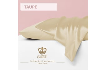 Two Mulberry Silk Fronted Pillowcases TAUPE