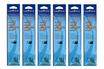 6 Pack of Surecatch Snelled Bronze Baitholder Fishing Hook Rigs - Qty-36 Rigs (Size:1/0)
