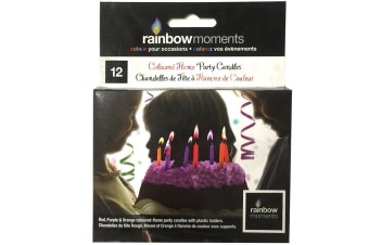 12PK Rainbow Coloured Flames Candles for Cakes/Kids Party/Purple/Red/Orange