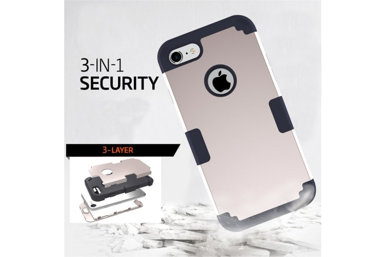 For iPhone 8 7 Case Stylish Triple Layer Armour Durable Protective Cover Gold