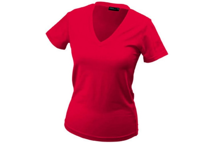 James and Nicholson Womens/Ladies V-Neck Tee (Red) (L)