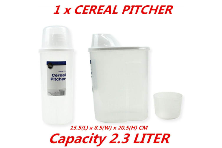 1 x 2.3L Plastic Cereal Dispenser Storage Box Kitchen Food Grain Rice Bean Container