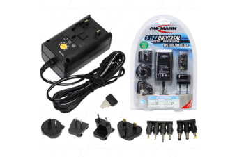 Universal 3-12VDC 1.0A Power Supply with Interchangeable Mains Input Plugs and 7 DC Output Plugs