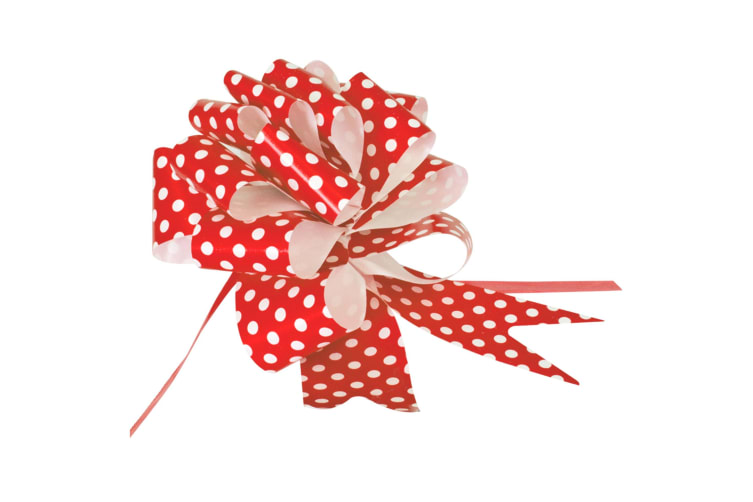 Eleganza Polka Dot Pullbows (Pack Of 20) (Red) (One Size)