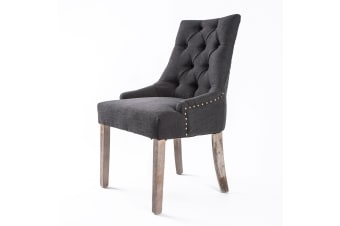 1X French Provincial Oak Leg Chair AMOUR - BLACK