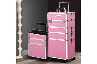 7 In 1 Professional Cosmetic Beauty Case Makeup Trolley Wheels Pink