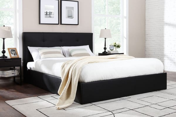 Ovela Bed Frame - Florence Gas Lift Collection (Black, King)