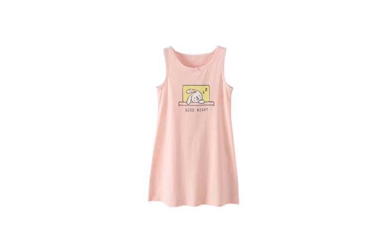 Nightgowns For Girls Cotton Pajamas Dresses - Pink Rabbit Pink 150Cm