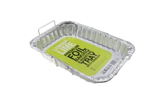 6 x Large Foil Tray Food Container Wire Handles Roasting BBQ Dish Takeaway Oven