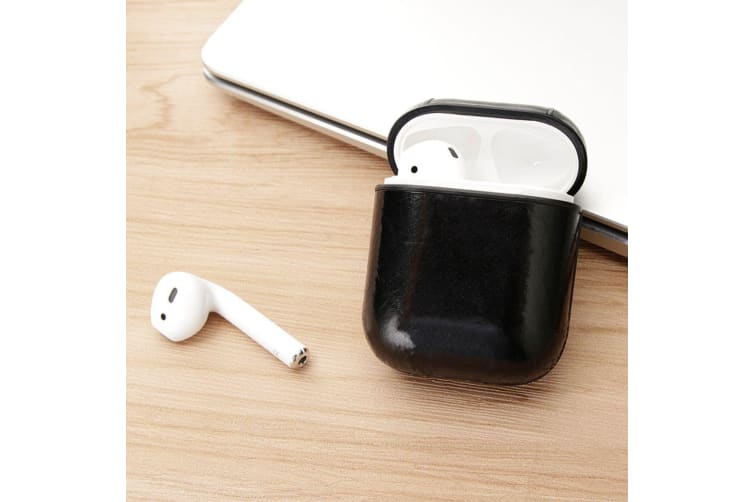 For Apple AirPods 1/2 Case Genuine Leather Shockproof Box  Oil Wax Pattern Black