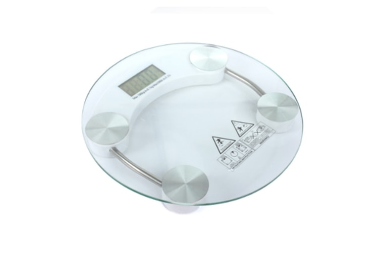 Round Digital Lcd Bathroom Fitness Scales With Step-On Technology,Tempered Glass