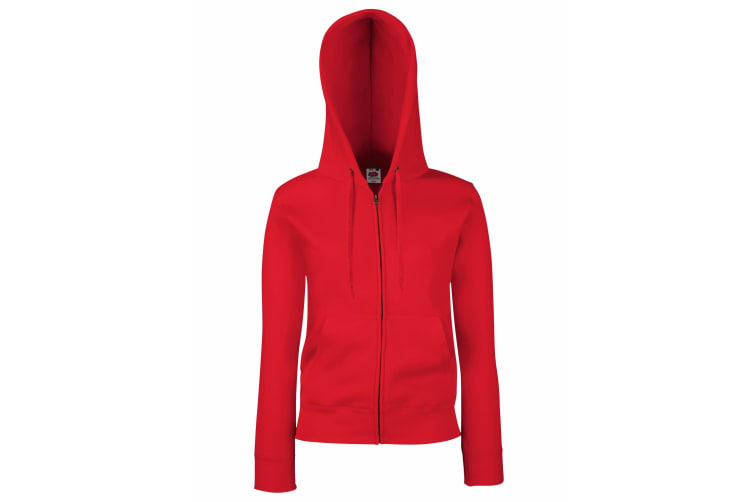 Fruit Of The Loom Ladies Lady-Fit Hooded Sweatshirt Jacket (Red) (XS)