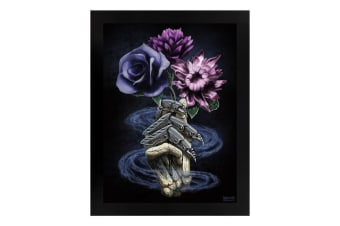 Requiem Collective Death's Bouquet Wooden Framed Print (Black)