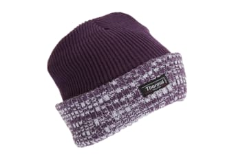 Womens/Ladies Thermal Two Tone Knit Hat (Purple) (One Size)