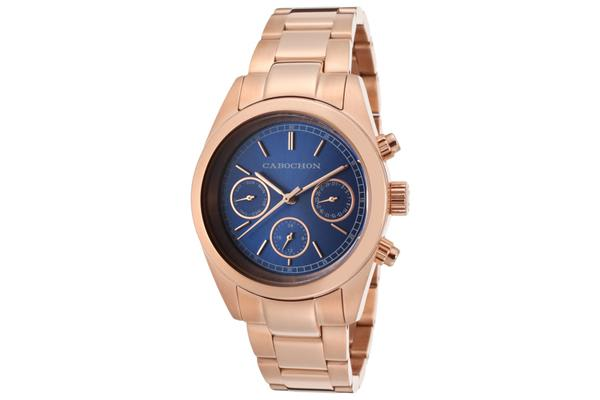 Cabochon Women's De  Ce Monde Multi-Function Blue Dial Rose Gold Tone Ion Plated Stainless Steel (CABOCHON-1118)