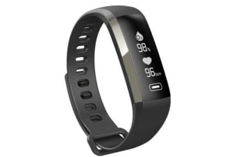 """Bluetooth V4.0 Fitness Band Watch 0.96"""" Oled Heart Rate Blood Oxygen Ip67 Black"""