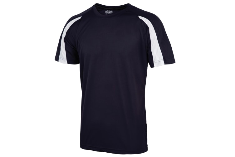 Just Cool Kids Unisex Contrast Plain Sports T-Shirt (French Navy/Arctic White) (9-11)