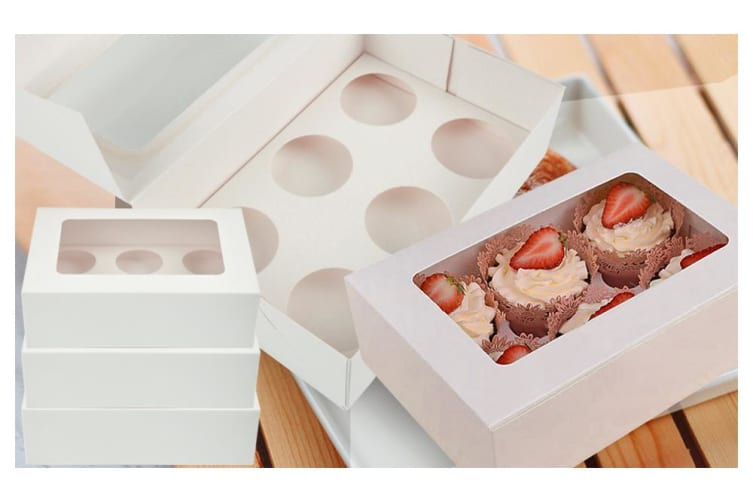 50 Pcs 4 Holes Cupcake Boxes Cupe Cake Box Window Face Cover and Inserts  -  50 Boxes50 pk