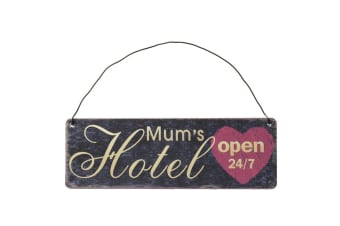 Mums Hotel Hanging Metal Wall Sign (Black) (One Size)