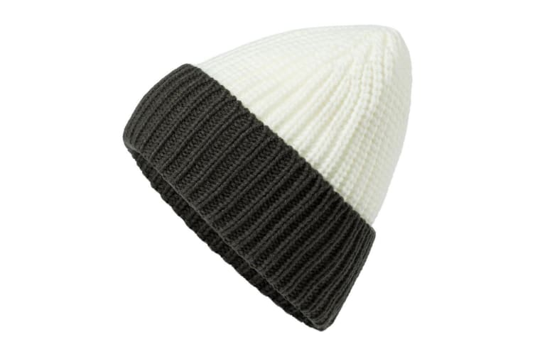 Myrtle Beach Adults Unisex Soft Knitted Beanie (Off White/Carbon Grey) (One Size)