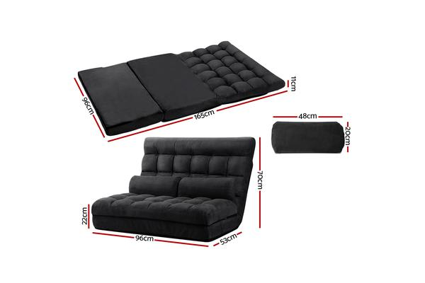 Artiss Lounge Sofa Bed DOUBLE Floor Recliner Chaise Chair Folding Suede Charcoal