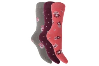 Lady Lara Womens/Ladies Thermal Socks (3 Pairs) (Purple Dots) (4-8)