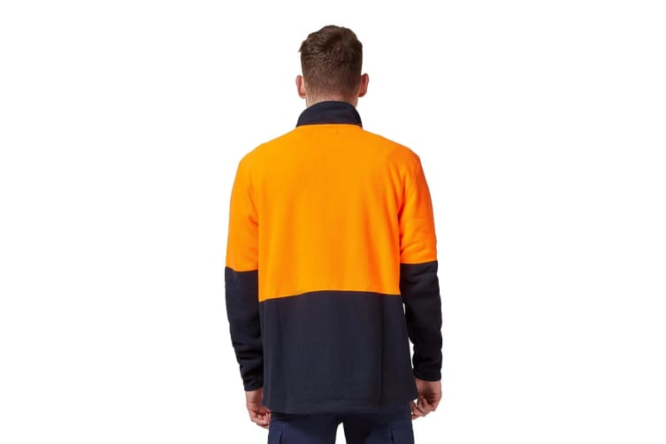 King Gee Full Zip Spliced Hi Vis Fleece (Orange/Navy, Size 5XL)