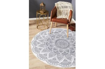 White Hand Braided Cotton Hamptons Flat Woven Rug - 200X200CM