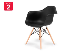 Ovela Set of 2 Eiffel DAW Dining Armchairs - Eames Replica (Black)