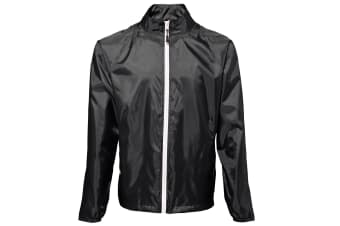 2786 Mens Contrast Lightweight Windcheater Shower Proof Jacket (Black/ White)