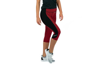 2XU Women's Fitness Compression 3/4 Tights (Black Tomato Maze/Black, Size S)
