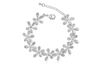 Magnolia White Gold Bracelet Embellished with Swarovski crystals