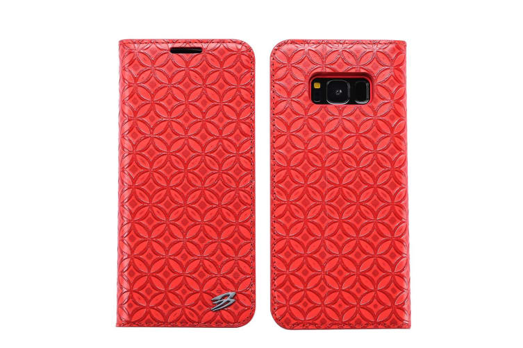 For Samsung Galaxy S8 Wallet Case Fierre Shann Copper Coin Leather Cover Red