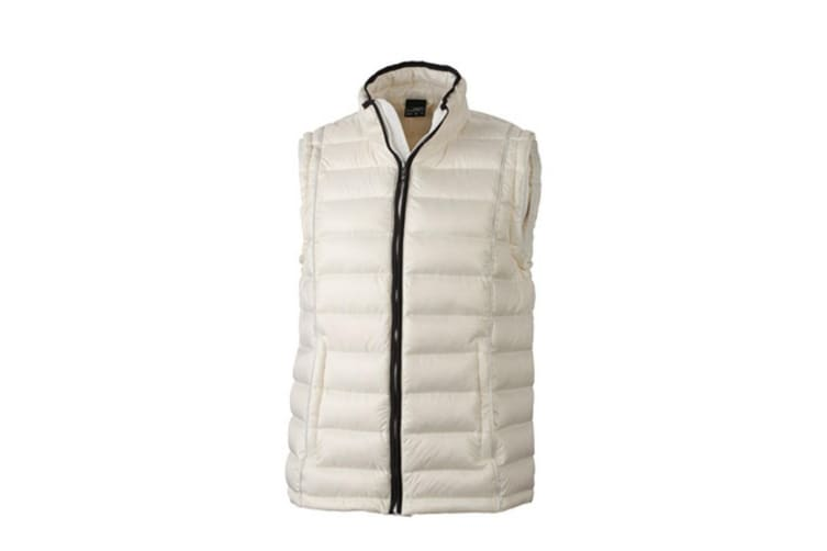 James and Nicholson Mens Quilted Down Vest (Off-White/Black) (3XL)