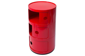 Replica Anna Castelli Ferrieri Componibili Round Storage Unit | 3 Tier | Red