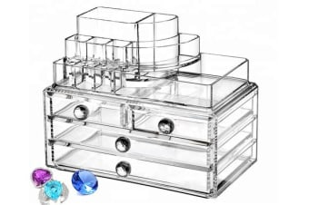 Acrylic Makeup Organizer Container Clear 4 Draws Cosmetic Holder