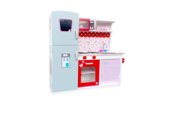 Children Wooden Kitchen Play Set with Fridge (Pink)